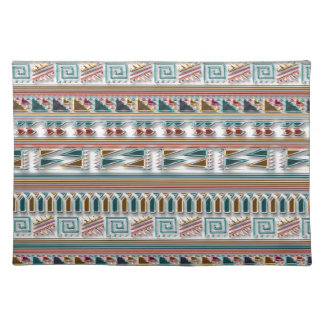 Multi Colored Gems Geometric Aztec Tribal Pattern Cloth Place Mat