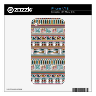 Multi Colored Gems Geometric Aztec Tribal Pattern Skin For The iPhone 4