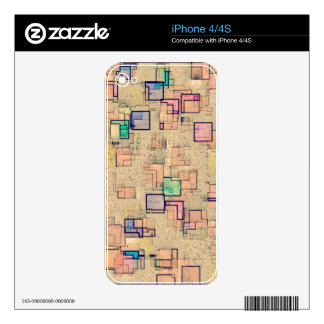 Multi Colored Geometric Abstract Shapes Art Decals For The iPhone 4S