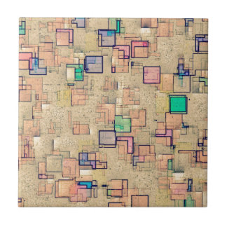 Multi Colored Geometric Abstract Shapes Art Tile