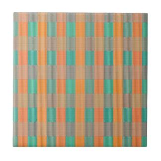 Multi Colored Geometric Square Stripes Tile