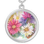 Multi-colored Gerber Daises Round Pendant Necklace
