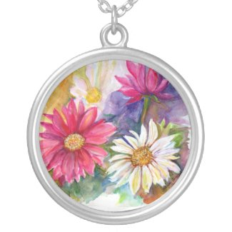 Multi-colored Gerber Daises Round Pendant Necklace