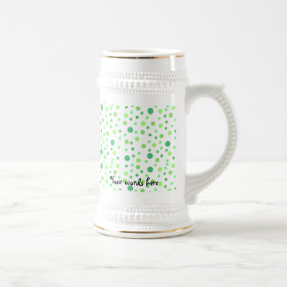 Multi colored green polka dots 18 oz beer stein