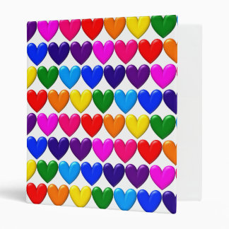 """Multi-Colored Hearts 3-Ring 1"""" Binder"""