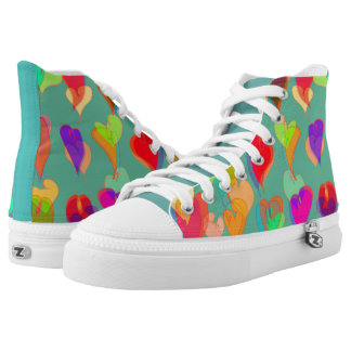 Multi Colored Hearts Pattern on Teal High-Top Sneakers