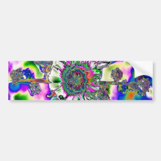 Multi colored Hollyhock Bumper Sticker