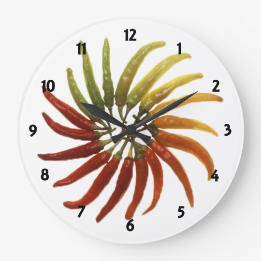 Multi-Colored Hot Peppers Clock