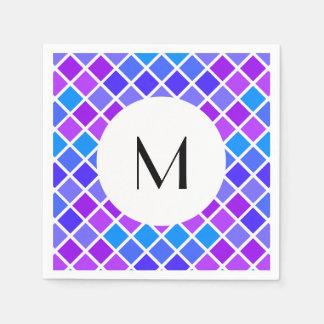 Multi Colored Jewel Mosaic with Monogram Paper Napkin