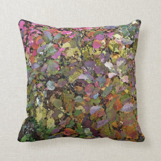 MULTI-COLORED LEAVES/DIGITAL EFFECTS THROW PILLOW