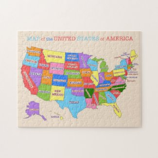 Multi-Colored Map Of the United States Jigsaw Puzzle