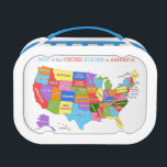 """Multi-Colored Map Of the United States Lunch Box<br><div class=""""desc"""">Here&#39;s a design for any kid who loves maps. It features a multi-colored map of the fifty United States against an off-white background. The title,  Map of the United States of America,  appears at the top of this colorful design.</div>"""