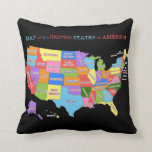 Multi-Colored Map Of the United States Pillow