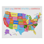 Multi-Colored Map Of the United States Posters