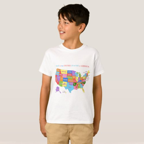 Multi_Colored Map Of the United States T_Shirt