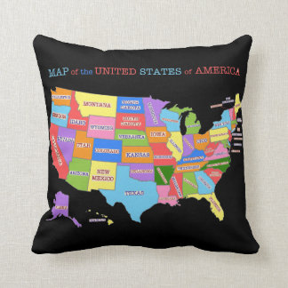 Multi-Colored Map Of the United States Throw Pillow