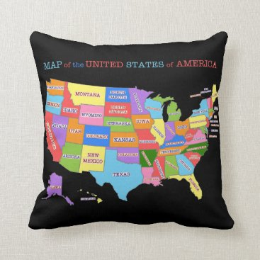 judgeart Multi-Colored Map Of the United States Throw Pillow