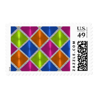 Multi Colored Metallic Looking Squares Postage Stamps