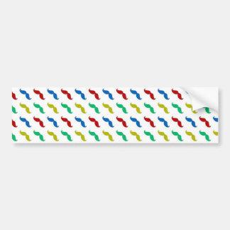 Multi Colored Mustache Pattern Bumper Stickers