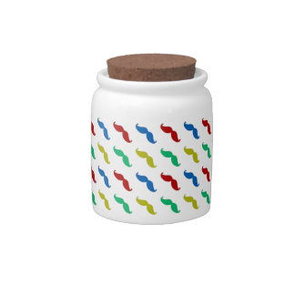 Multi Colored Mustache Pattern Candy Jars