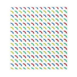 Multi Colored  Mustache Pattern Notepad