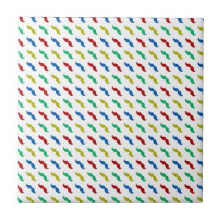 Multi Colored Mustache Pattern Ceramic Tile