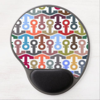Multi Colored Nautical Anchor Pattern Gel Mouse Mats
