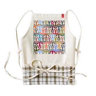 Multi Colored Nautical Anchor Pattern Zazzle HEART Apron