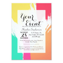 Multi-Colored Paint Brushstrokes Invitation