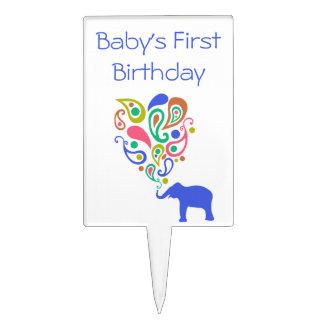 Multi-Colored Paisley Elephant Baby 1st Birthday Cake Picks
