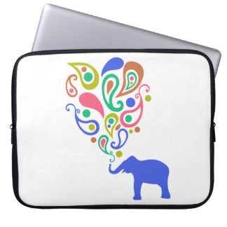 Multi-Colored Paisley Elephant Pattern Design Laptop Sleeve