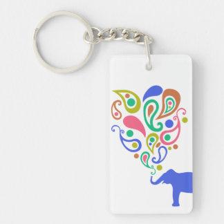 Multi-Colored Paisley Elephant Pattern Design Acrylic Key Chain