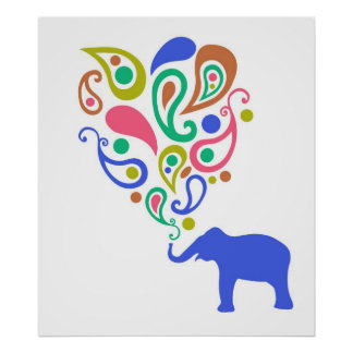 Multi-Colored Paisley Elephant Pattern Design Poster