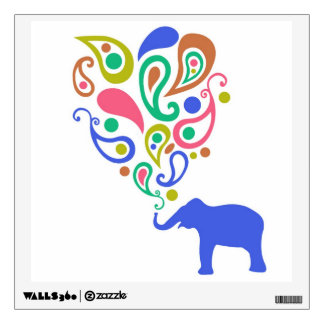 Multi-Colored Paisley Elephant Pattern Design Wall Decal