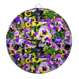 multi-colored pansy flowers dart board