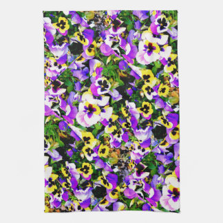 multi-colored pansy flowers kitchen towel