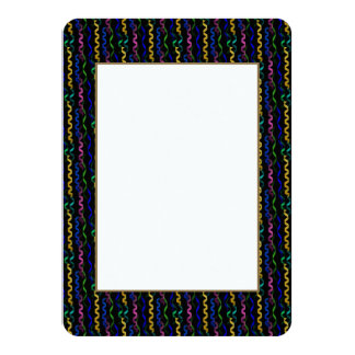 Multi-colored party streamers on a black 4.5x6.25 paper invitation card