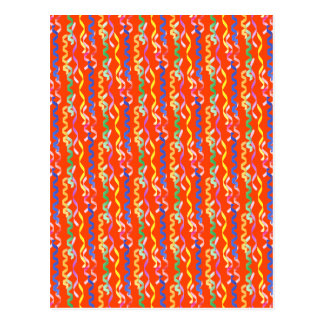 Multi-colored party streamers on a neon orange postcard