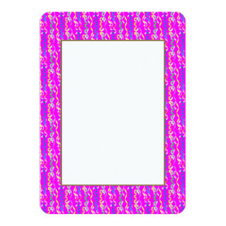 Multi-colored party streamers on a neon pink 4.5x6.25 paper invitation card