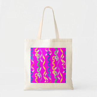 Multi-colored party streamers on a neon pink budget tote bag