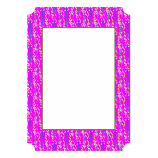 Multi-colored party streamers on a neon pink card