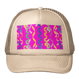 Multi-colored party streamers on a neon pink trucker hat
