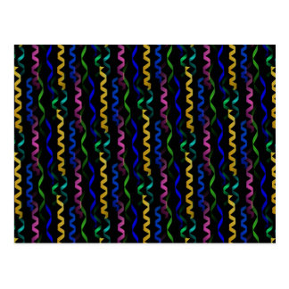 Multi-colored Party Streamers on Black Postcard