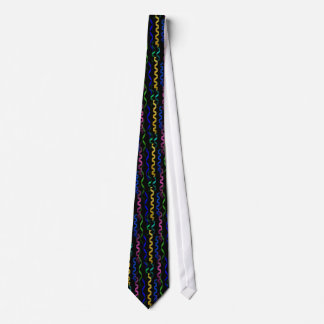 Multi-colored Party Streamers on Black Tie