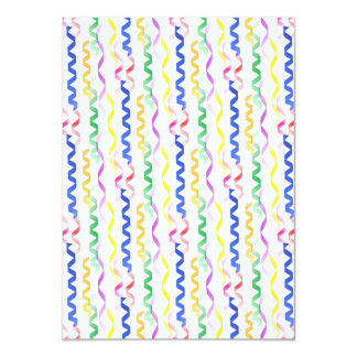 Multi Colored Party Streamers on White 4.5x6.25 Paper Invitation Card