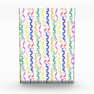 Multi Colored Party Streamers on White Acrylic Award