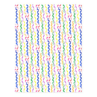 Multi Colored Party Streamers on White Postcard