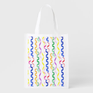 Multi Colored Party Streamers on White Market Tote