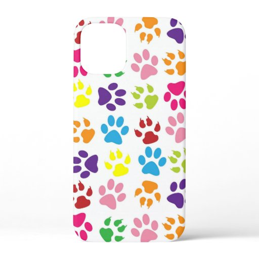 Multi-Colored Paw Prints iPhone 12 Mini Case
