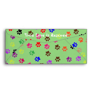 Multi-Colored Pawprint Envelope
